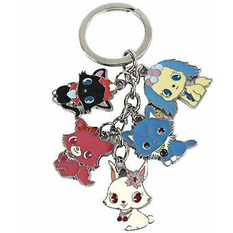 Edelstein Haustier Tier farbige Metall Puppe 5 Anhänger Schlüsselanhänger Schlüsselanhänger Cartoon Metall Handwerk