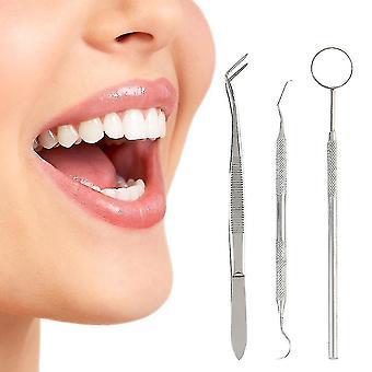 3pcs Kit de exame dentário sonda definir ferramentas de limpeza do exame de higiene