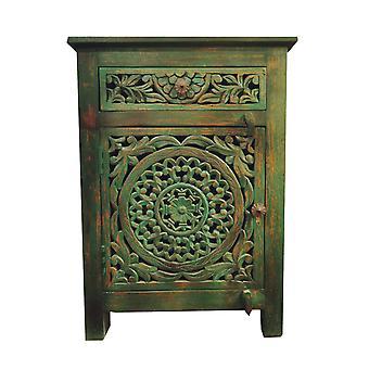 Fine Asianliving Indian Bedside Table Sarcelle en bois fabriqué à la main W55xD35xH76cm fait à la main en Inde