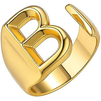 (Gold-B) Initial Letter A to Z 18K Gold Plated Bold Adjustable Women Party Rings Signet Ring