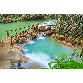 Tapeta Mural Turkusowa woda wodospadu Kaskadowego Kuang Si w Laosie