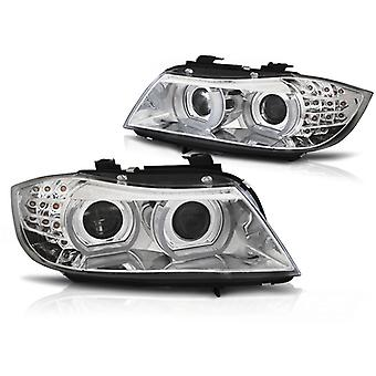 Xenon ajovalot kromattu BMW E90 E91 09-11 LED DRL AFS