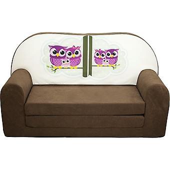 Kinder slaapbank - sofa - bruin - logeermatras - 85 x 60 - uil