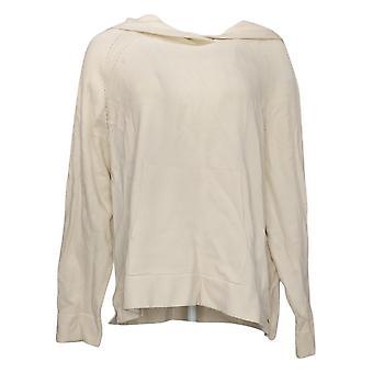 MarlaWynne Women's Plus SoftKNIT Hoodie with Pockets Ivory 734073