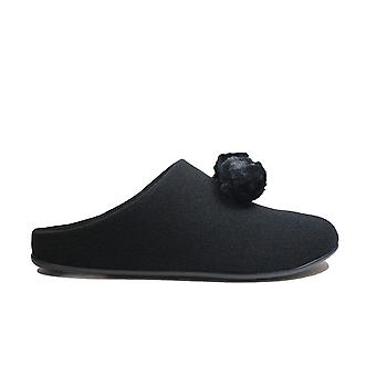Fitflop Chrissie Pom Pom Black Womens Slip On Mule Slippers