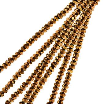 Crystal Beads, Faceted Rondelle 1.5x2.5mm, 2 Strands, Opaque Copper Iris