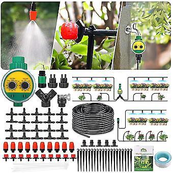Droppbevattningssats med timer 82ft / 25m, Dripper Automatic Irrigation System för trädgårdsväxthus,