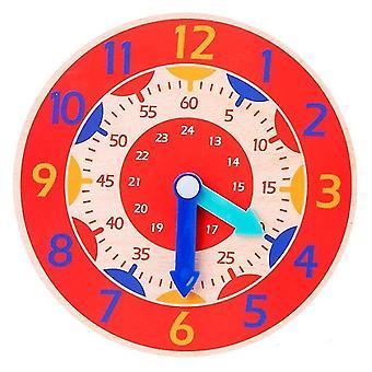 Giocattoli di aiuto didattico con orologio montessori in legno per bambini (rosso)