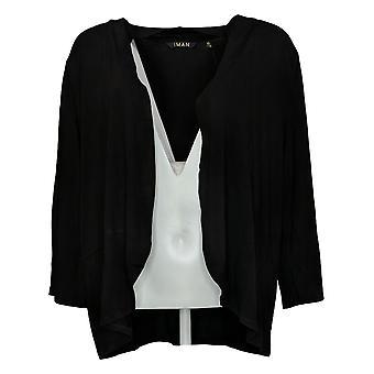 IMAN Global Chic Women's Sweater 3/4-Slv Open Knit Cardigan Black 752777