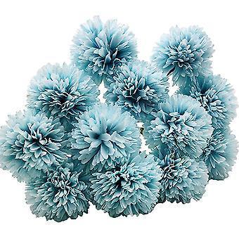 12pcs מלאכותי חרציות כדור פרחים עם גבעולי משי Hydrangea סידור זר -כחול