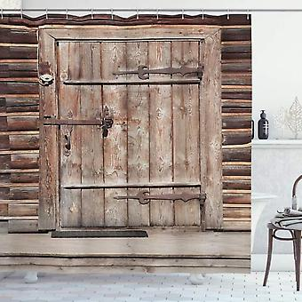 Rustic Shower Curtain, Wooden Door Cabin, Fabric Bathroom Decoration Set With Hooks Brown 120x180 Cm
