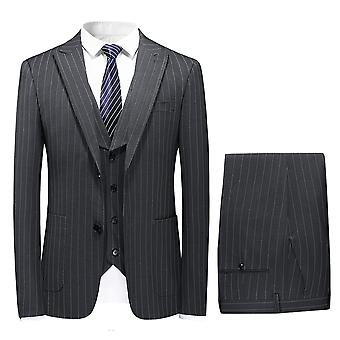 Mile Mens Single Breasted 3 Piece Suit Light Weight Summer Tailored Fit Jacket Waistcoat Trousers Black