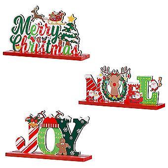 3pcs Christmas Decorations Wooden Christmas Elk Ornaments Christmas Table Decor