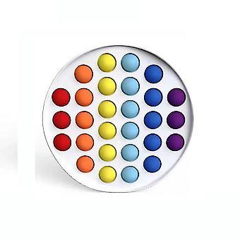 Runda färgglada Push Pop Bubble Silikon Fidget Leksak Stress Reliever
