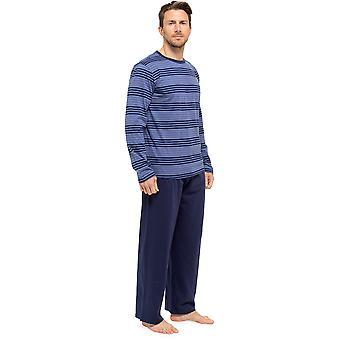 الرجال مخطط طويل الأكمام الأعلى والسراويل بيجاما صالة ارتداء - الأزرق البحرية - XX-كبير