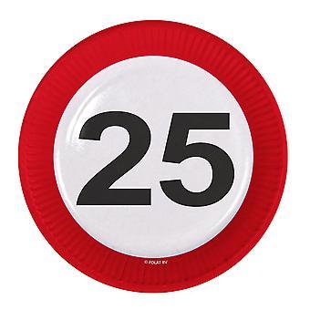 Il numero di segno di traffico della piastra di partito compleanno 25 piastre 8 pz carta festa piastre