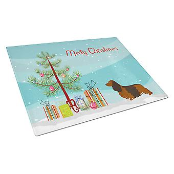 Longhaired Dachshund Christmas Glass Cutting Board Large