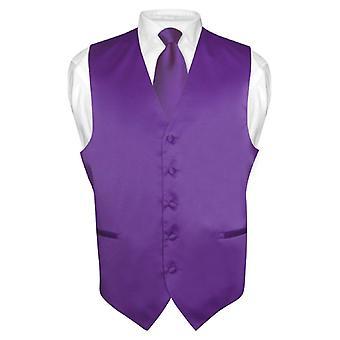 Men's Dress Vest & NeckTie Solid Neck Tie Set for Suit Tux