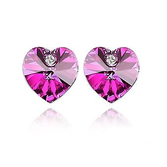 Austrian Crystal Stone And Elements Hot Pink Heart Shaped Stud Earrings