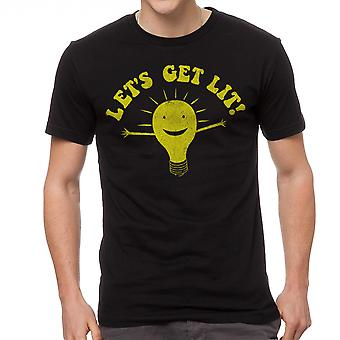 Humor Let's Get Lit Men's Black T-shirt