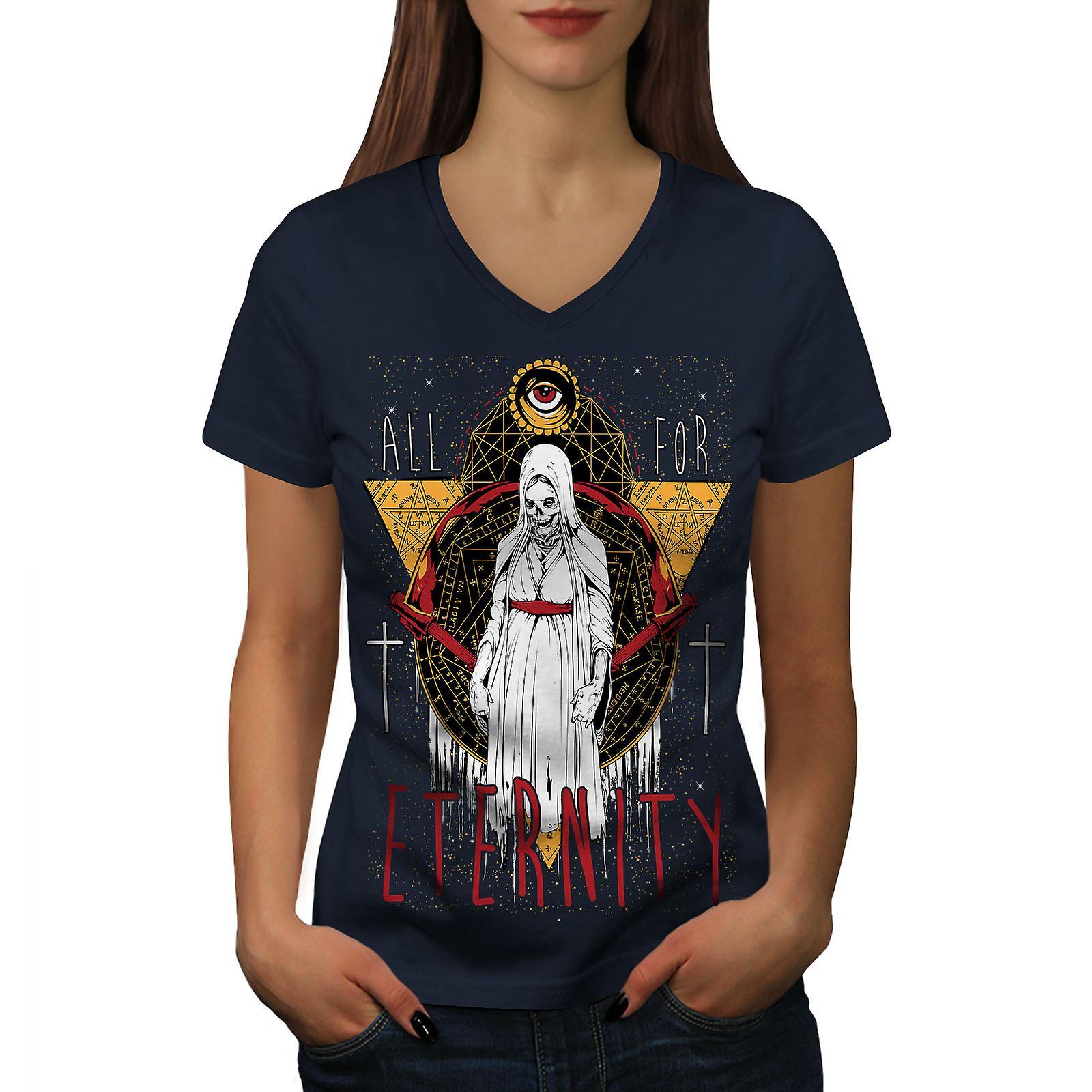 Tout pour l'éternité femmes NavyV-Neck T-shirt | Wellcoda