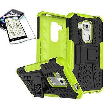 מקרה היברידי 2Piece ירוק עבור Huawei נובה פלוס + מזג זכוכית מארז כיסוי לכסות
