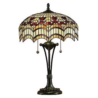 Interiors 1900 Vesta Tiffany Table Lamp With Arched Design Glass Shade