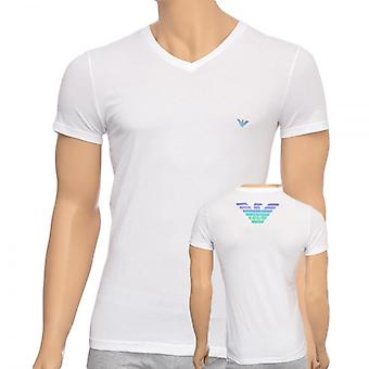 Emporio Armani Eagle Stretch coton v-Neck T-Shirt, blanc, X Large