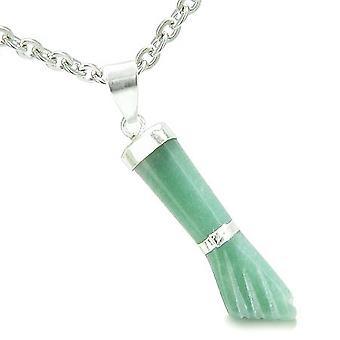 Brasilianische Crystal Figa grün Aventurin Geld Befugnisse Amulett italienischen Glücksbringer Anhänger Halskette