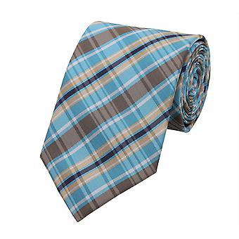 Knyta slips tie slips 8cm turkos blå Brunrutig Fabio Farini