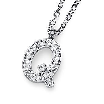 Oliver Weber Pendant Initial Q Steel CZ Crystal