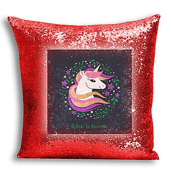 i-Tronixs - Unicorn Printed Design Red Sequin Cushion / Pillow Cover with Inserted Pillow for Home Decor - 10