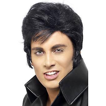 Короткие черные волнистые парик, парик Элвиса Пресли, карнавальных аксессуаров