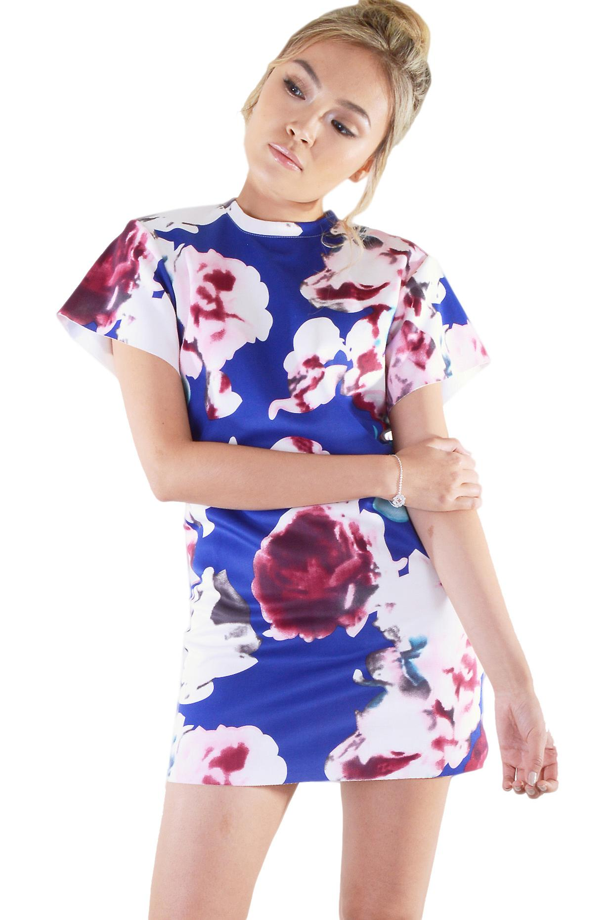 Lovemystyle Blue Dress With White And Pink Flowers