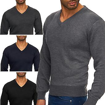 Mens Pullover Jumper sweater soft knit V-Neck knitwear (various colors)