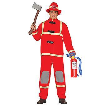 Mens Fireman Firefighter Fancy Dress Costume
