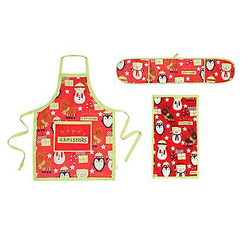 Christmas Shop Merry Christmas Kitchen Set (Oven Gloves, Apron And Tea Towel) (Pack of 2)