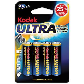 AA Battery 4-pack, LR6 Kodak Ultra Alkaline Batteries
