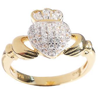 Panie tradycyjnych Claddagh utorować ustawienie pierścienia o skręcie musujące!