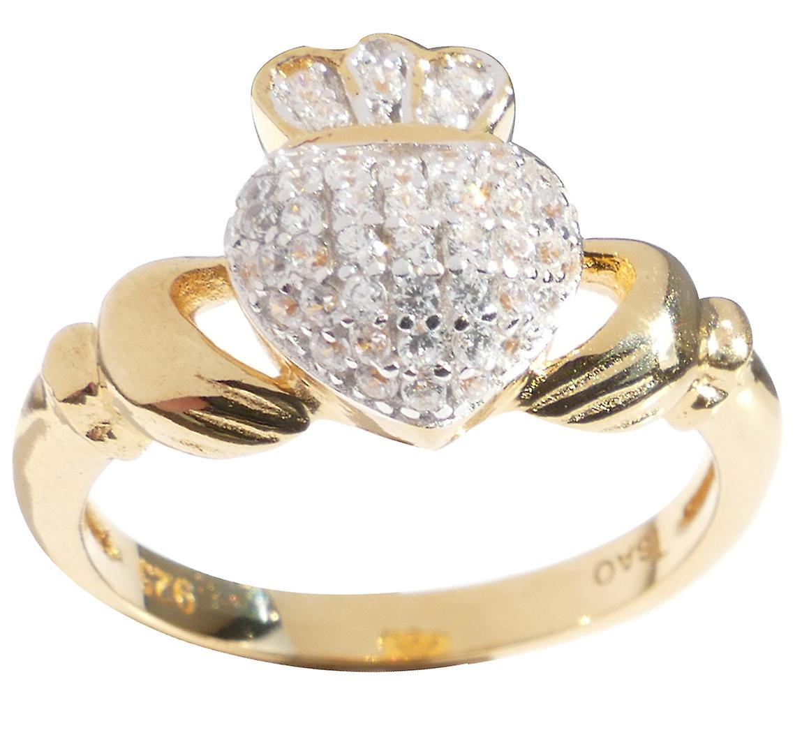 Ladies Traditional Claddagh Pave Setting Ring with a Sparkling Twist!