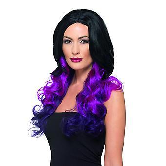 Deluxe περούκα με ανταύγειες κυματιστό μακριά μαλλιά περούκα μαύρο μωβ καρναβάλι αξεσουάρ