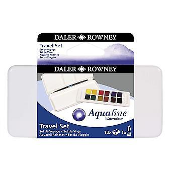 Daler Rowney Aquafine Aquacolour Paint 12 Pan Travel Set