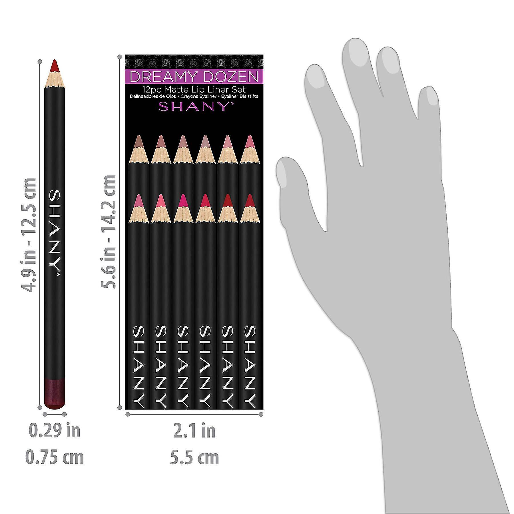 SHANY Dreamy Dozen Matte Lip Liner Set - Long-Lasting Professional Velvet Lipstick Pencils in Varying Shades - Pack of 12