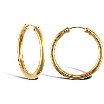 Jewelco London Ladies 9ct Yellow Gold Capped Sleeper 2.5mm Boucles d'oreilles Hoop 25mm
