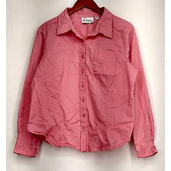 Linea by Louis Dell'Olio Top Button Front Long Sleeve Collared Pink A214116