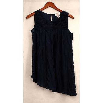 OSO Casuals Small Crochet Toke Asymmetrical Woven Tank Blue Womens A430370