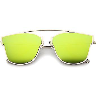 Moderne Flash Mirror Lens Ultra dunne Open metalen minimale Pantos Aviator zonnebril 55mm