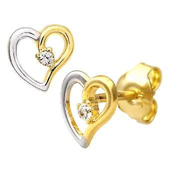 Citerna Women's Pin Earrings - Bicolor Gold - Cubic Zirconia
