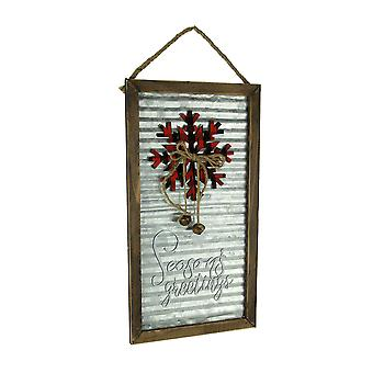 Wood Framed Rustic Metal Seasons Greetings Christmas Decor Wall Hanging