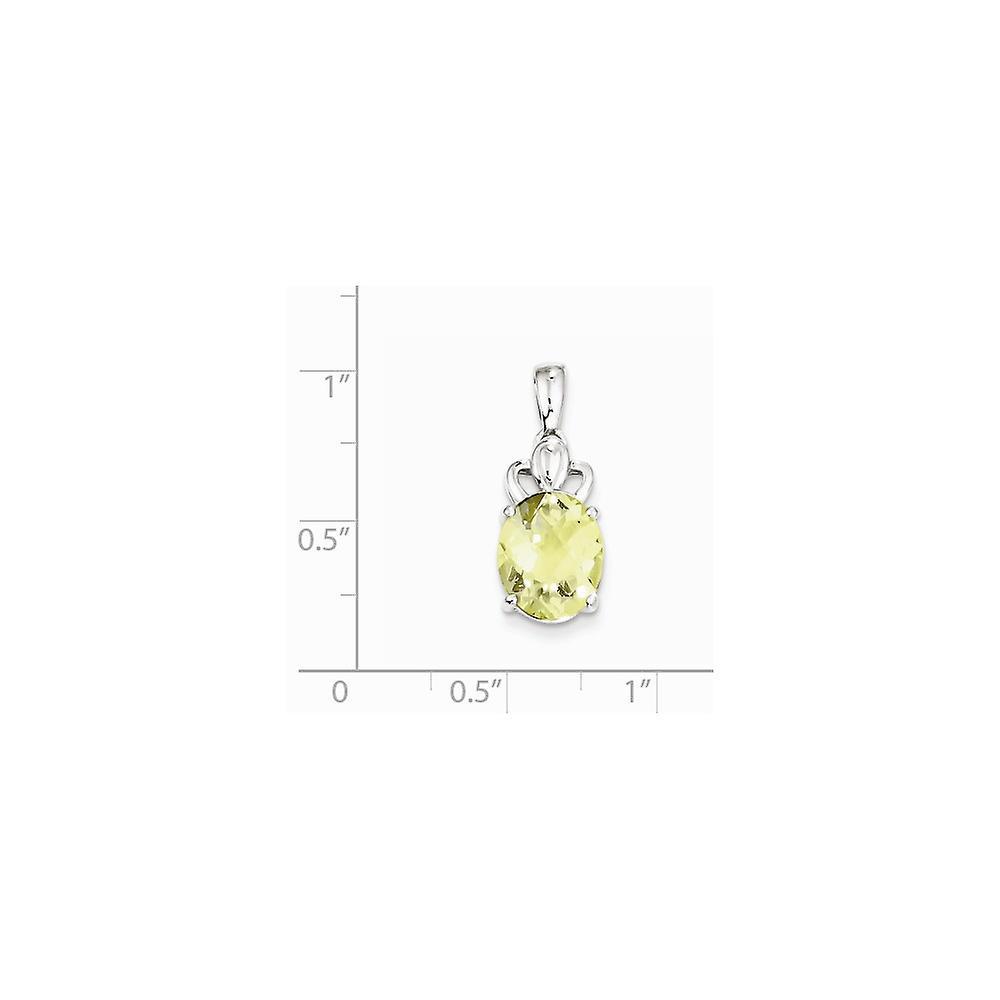 925 Sterling Silver Rhodium Plated Fancy Cut Lemon Quartz Open Back Pendant
